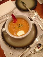 Chilled soup with lobster garni