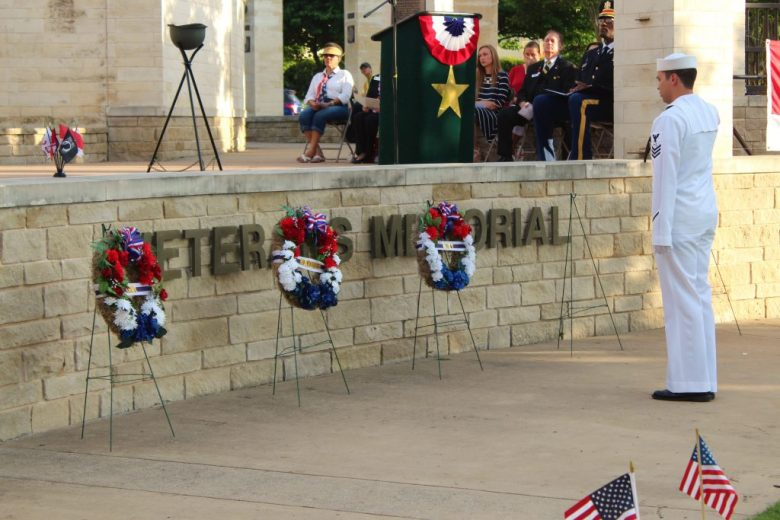 Memorial Day Plano Sunset at Memorial Park Summer ceremony honoring fallen soldiers wreath