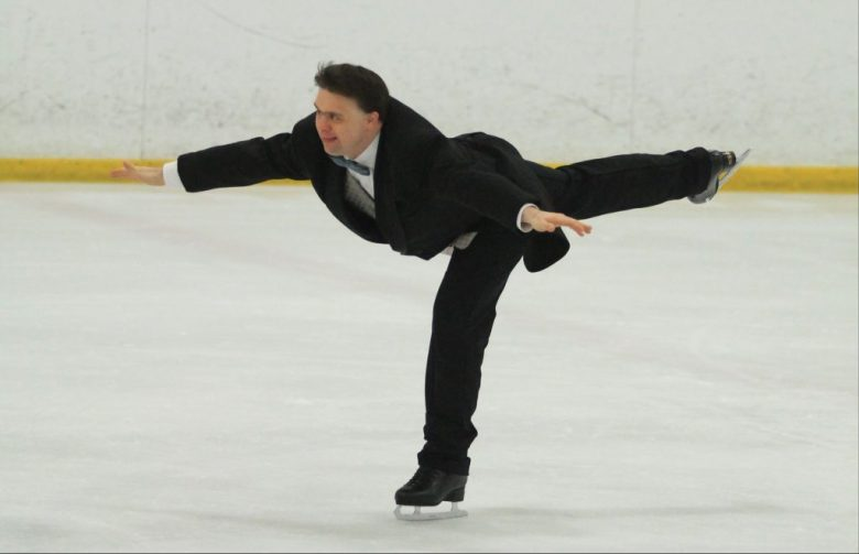 Ian R skating for Special Olympics