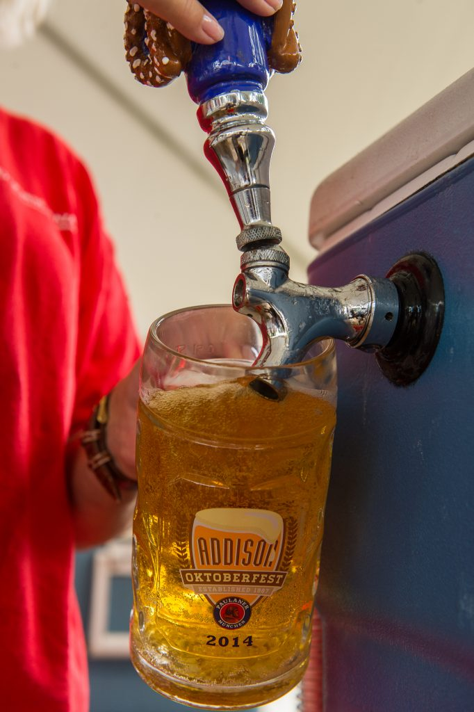 Pouring a beer at Addison Oktoberfest
