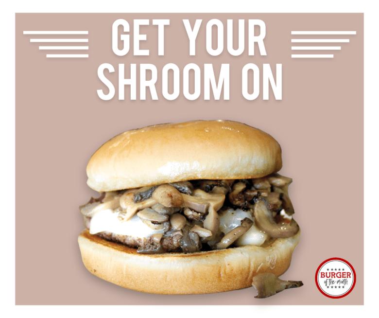 mushroom swiss burger national-cheeseburger day in Plano