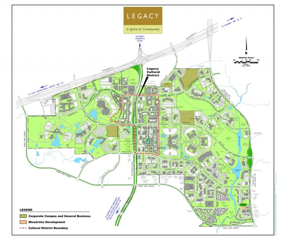 The proposed boundaries for the Legacy Cultural District (marked in black) encompass The Shops at Legacy as well as Legacy West, Plano