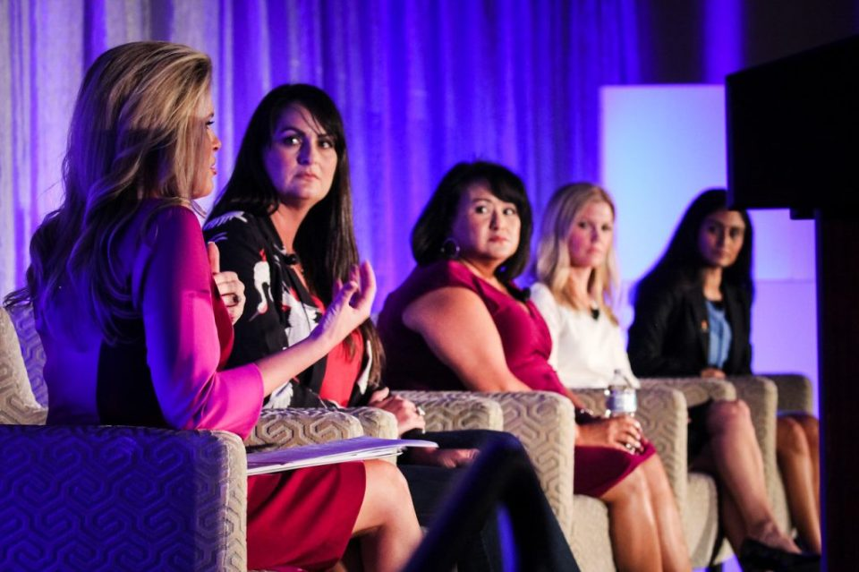 Myrna Estrada, Vice President and Regional General Manager for Safeco Insurance; Dana Beckman, Director of Corporate Affairs at Alliance Data; Praveena Nathawat, Talent Management and Diversity at Ericsson; and Stephanie Jeffery, Vice President, Diversity & Inclusion at Capital One., plano profile magazine, women in business summit
