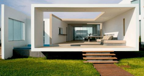 Diseño de moderna casa de playa amplios interiores