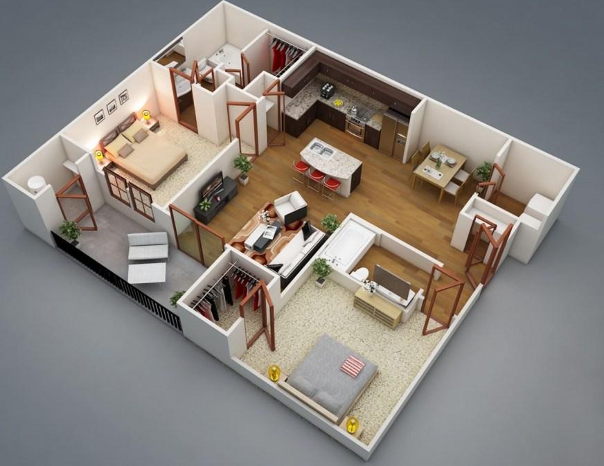 Plano De Departamento De 1 Dormitorio Con Balcon