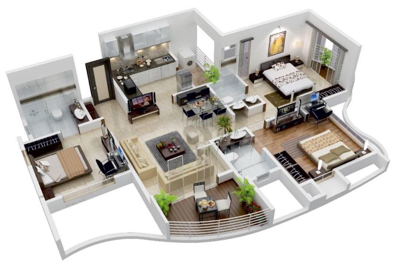 Diseos de apartamentos de 3 habitaciones y ms de 100m2