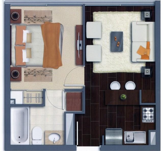 Plano de apartamento amueblado y decorado Decoracin de