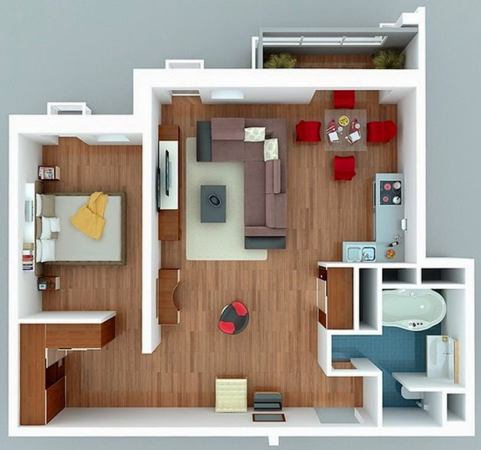 Planos de apartamentos 50 metros cuadrados