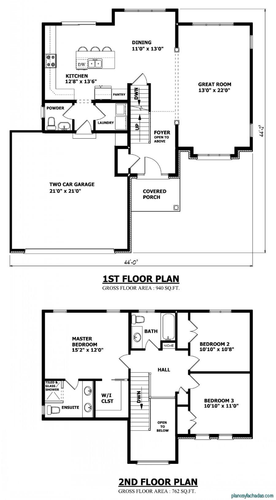 15 Planos de casas pequeñas de dos pisos Planos y Fachadas