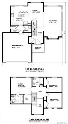 Planos de casas pequeñas de dos pisos (4)