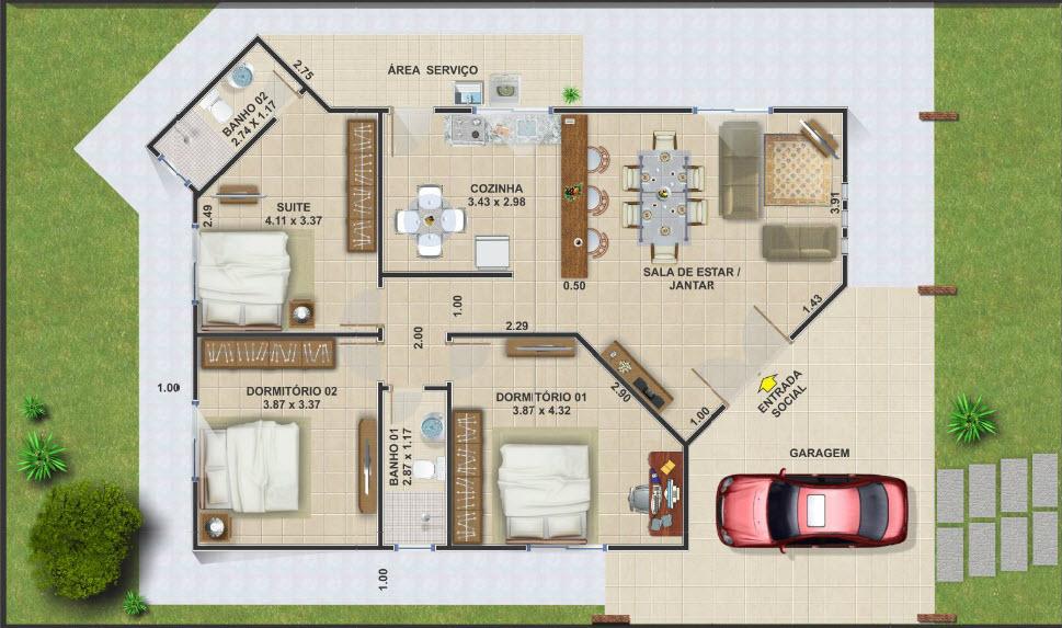 20 planos de casas chicas planos y fachadas todo para - Planos de casas de una planta pequenas ...