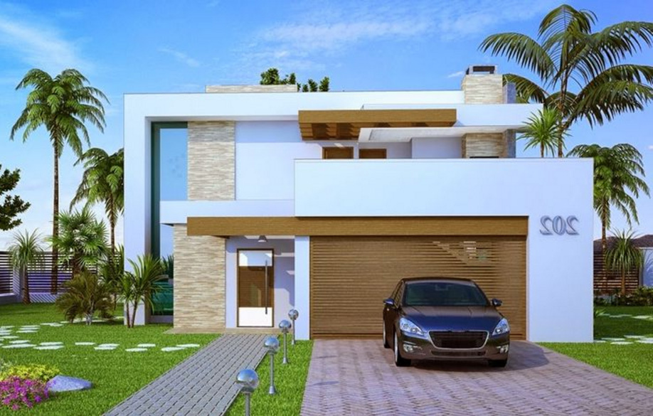 Fachadas de casas modernas de dos pisos planos y for Jardines casas modernas