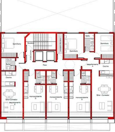 Planos de departamentos peque os planos y fachadas for Distribucion apartamentos pequenos