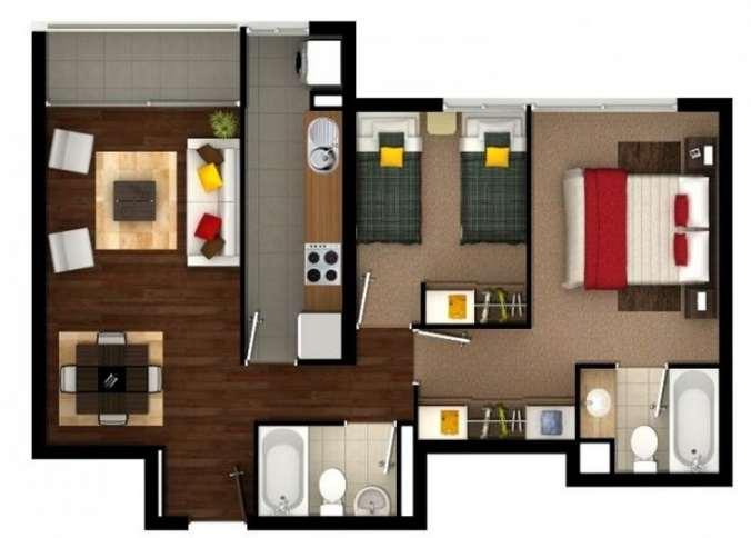 Planos de departamentos peque os planos y fachadas for Banos modernos para apartamentos pequenos
