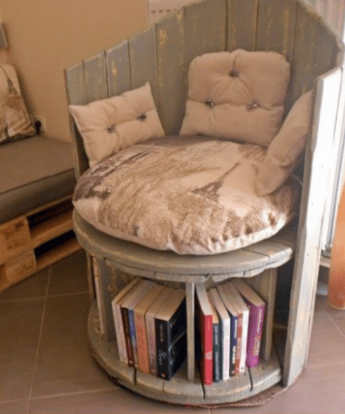 Seat with book storage