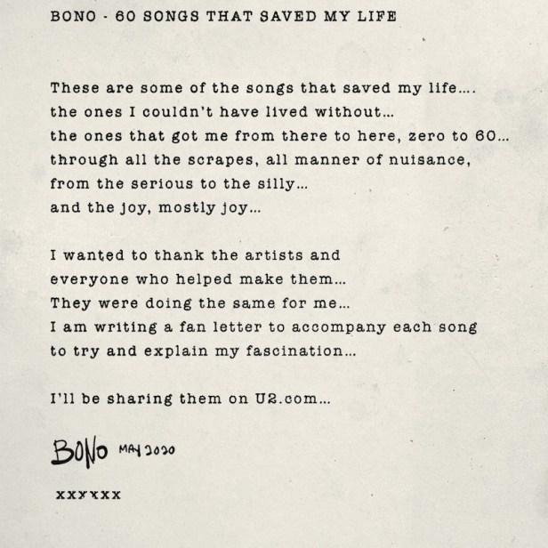 Bono - 60 songs that saved my life. Source : U2.com