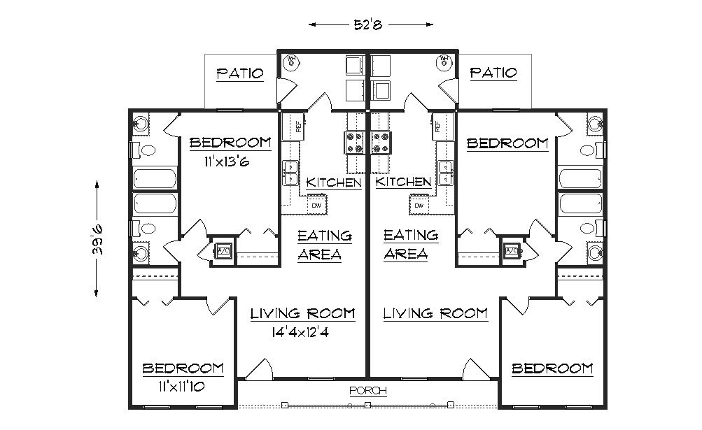 Duplex plan J891d