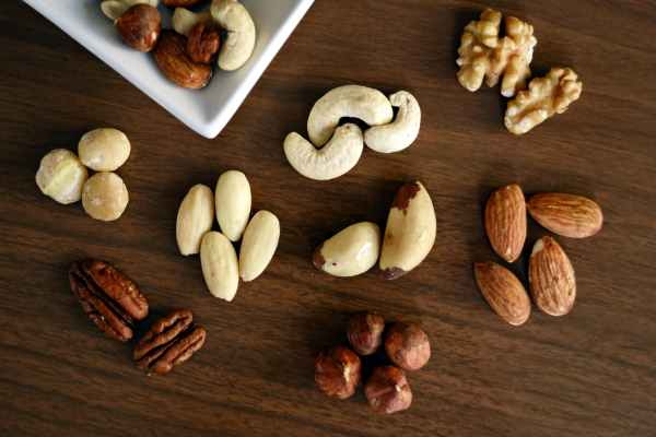 Nuts and seeds rich in protein.