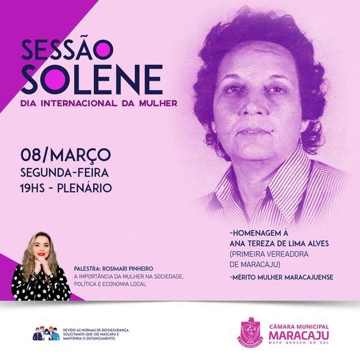 Segunda-feira tem sessão solene em homenagem ao dia Internacional das Mulheres