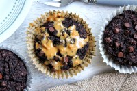 Cocoa bran muffins with peanut butter