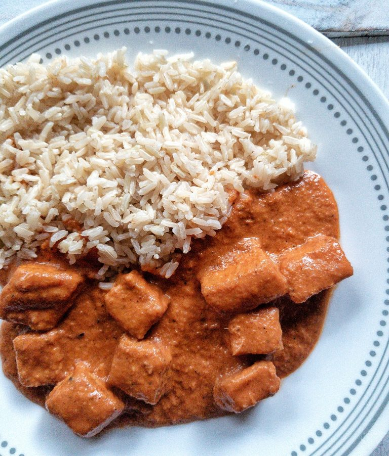 "Inspired by the Indian dish ""Butter Chicken,"" this vegan alternative is made with tofu and creamy coconut sauce."