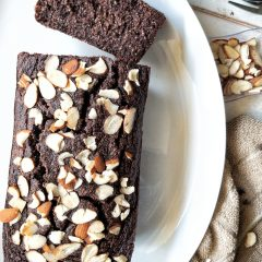 A loaf of gluten-free double chocolate banana bread topped with sliced almonds