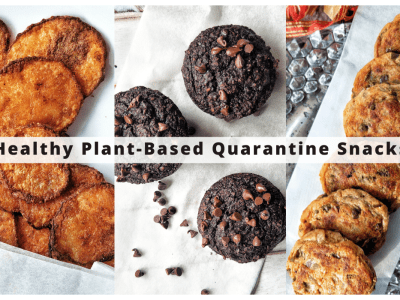 """Collage with 3 plant-based quarantine snacks including homemade potato chips, chocolate muffins, and baked aloo tikki or """"potato cakes"""""""