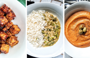 Image collage featuring tempeh stir fry with honey garlic sauce, broccoli curry, and roasted red carrot lentil soup (left to right)