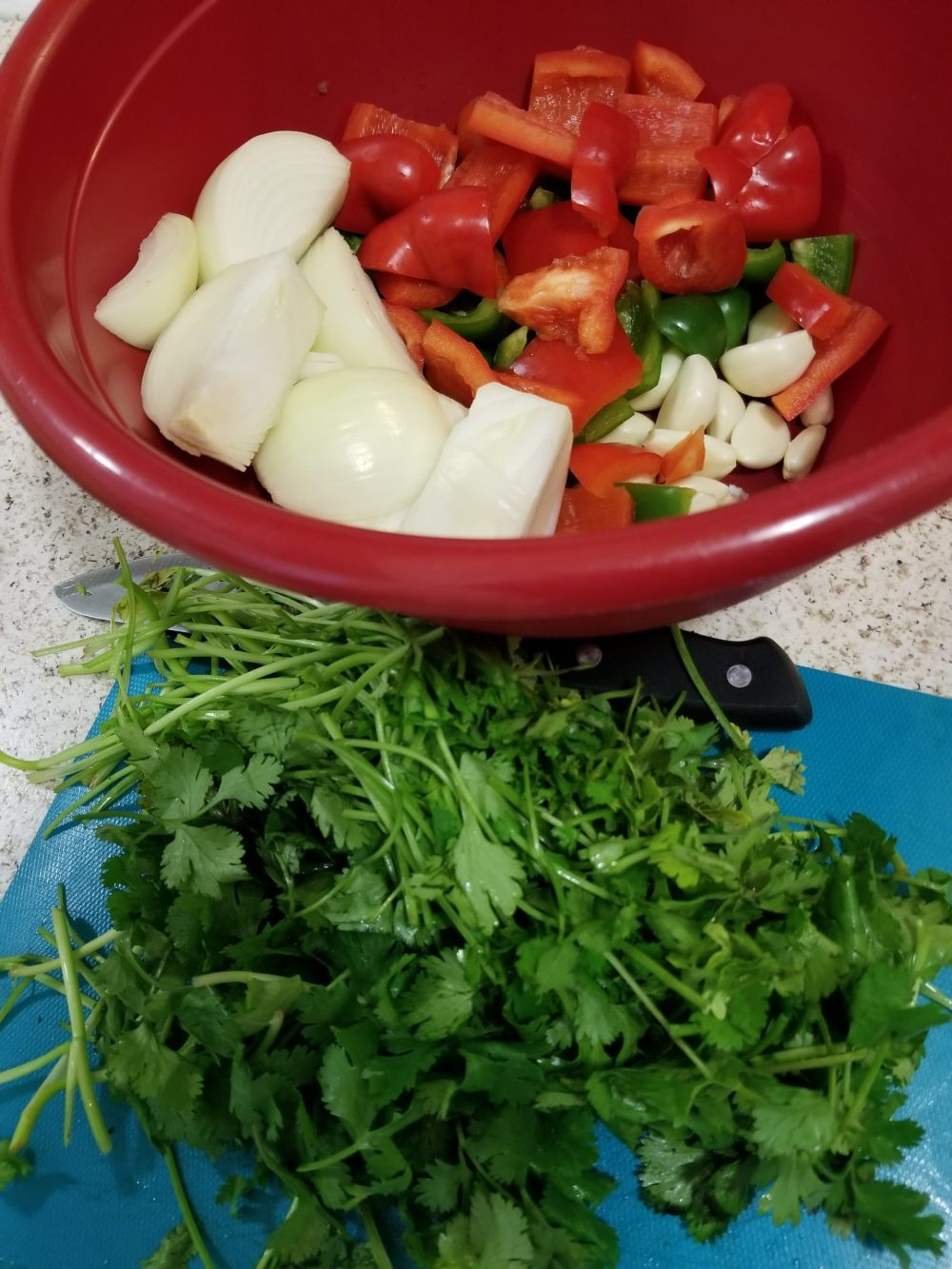 Chopped cilantro, onion, red bell pepper, green bell pepper, and garlic in a large bowl.
