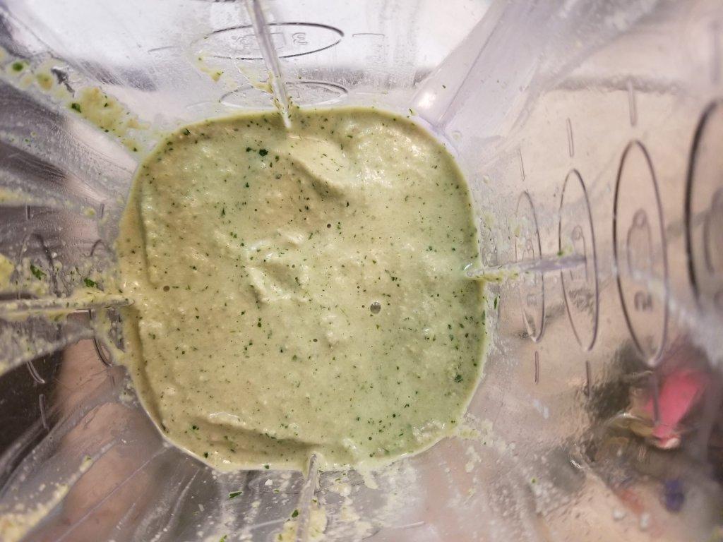 Creamy cilantro sauce in a blender