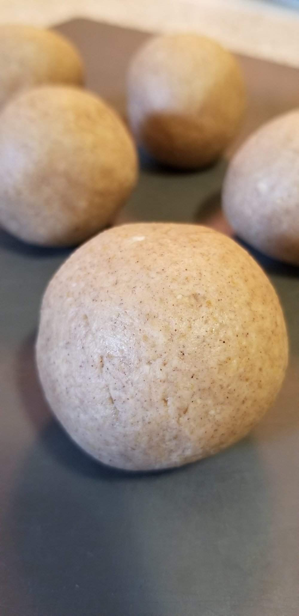 Oat flour dough rolled into balls