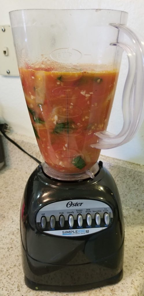 Chunky tomato soup in a blender
