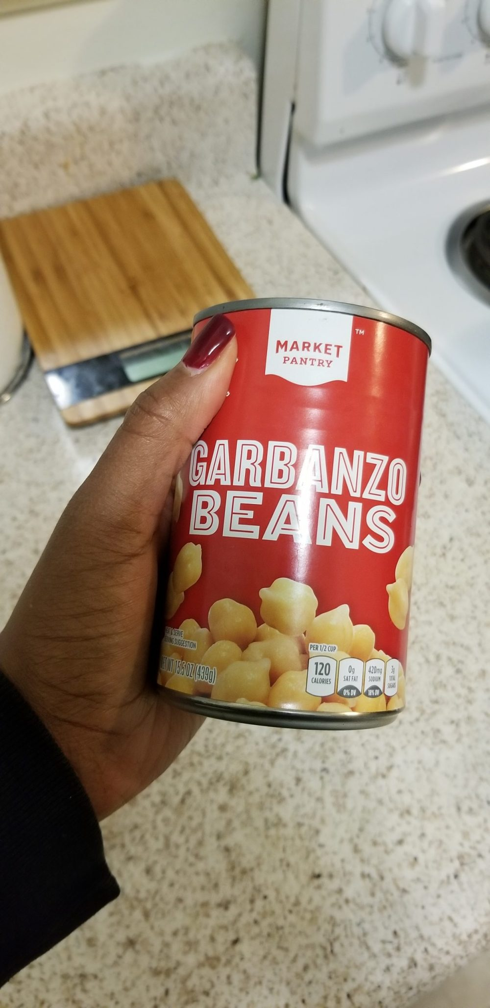 Close up of canned garbanzo beans or chickpeas