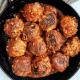 Homemade tofu meatballs in a small pan