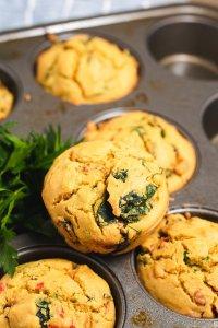 close up chickpea muffins in a muffin tin