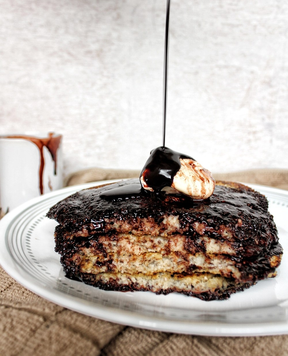 Oat bran pancakes with chocolate syrup