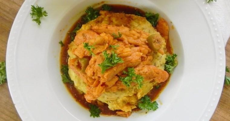 Vegan Mofongo with Stewed Chick'n