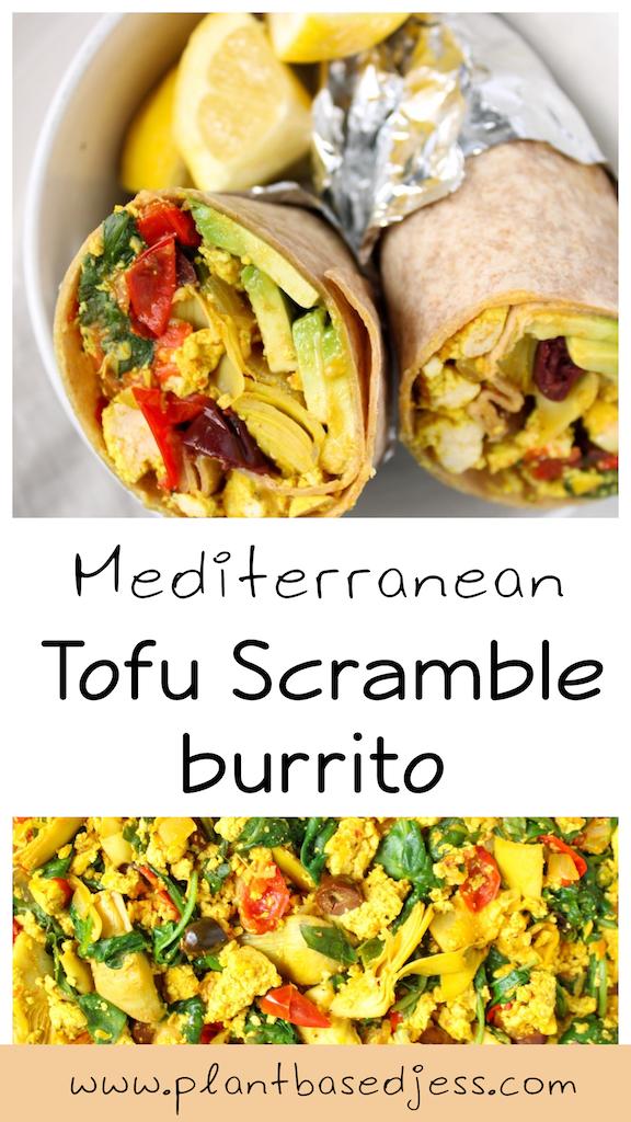 Mediterranean Tofu scramble burrito