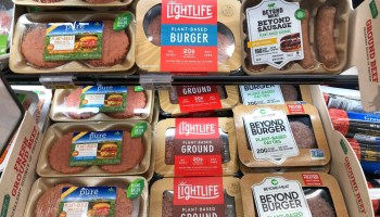 Plant-based meat products in a shop.