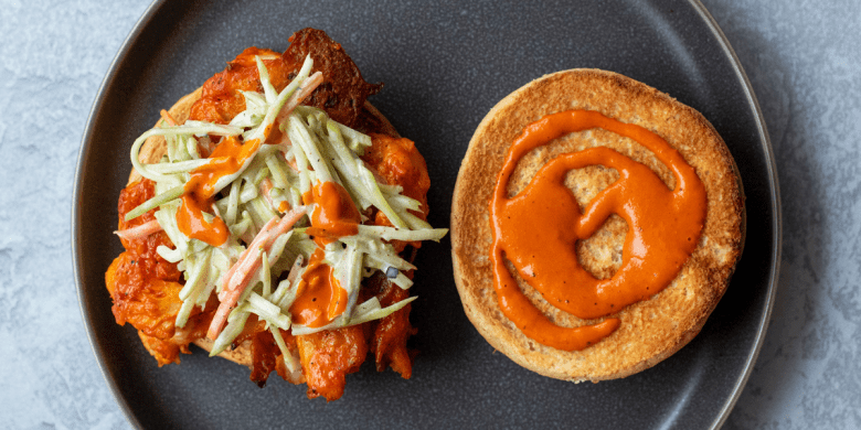 Crispy Vegan Buffalo Cauliflower Sandwich