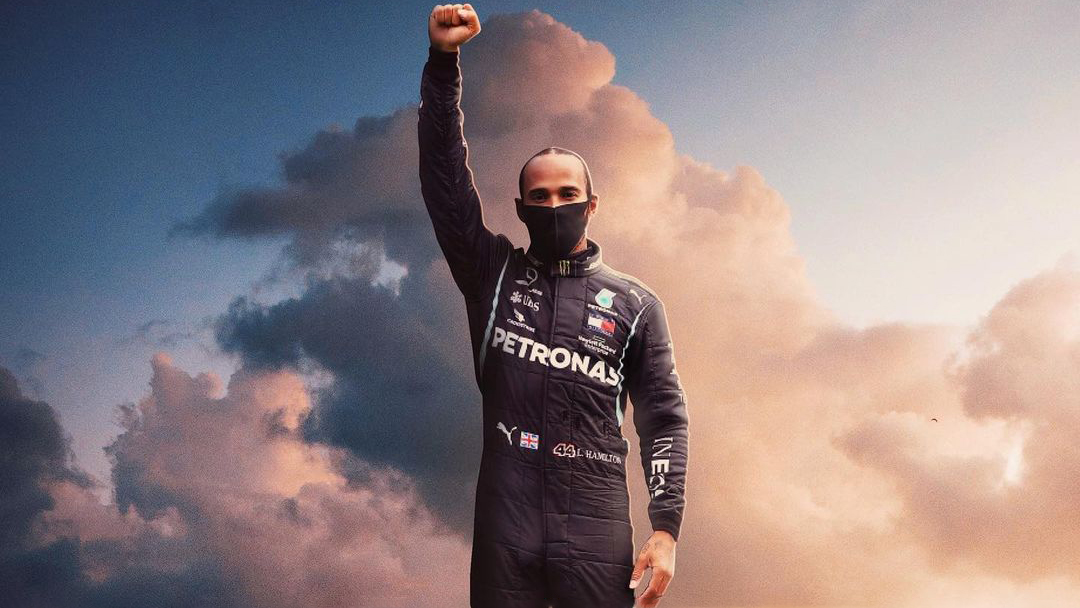 Lewis Hamilton celebrating his latest victory