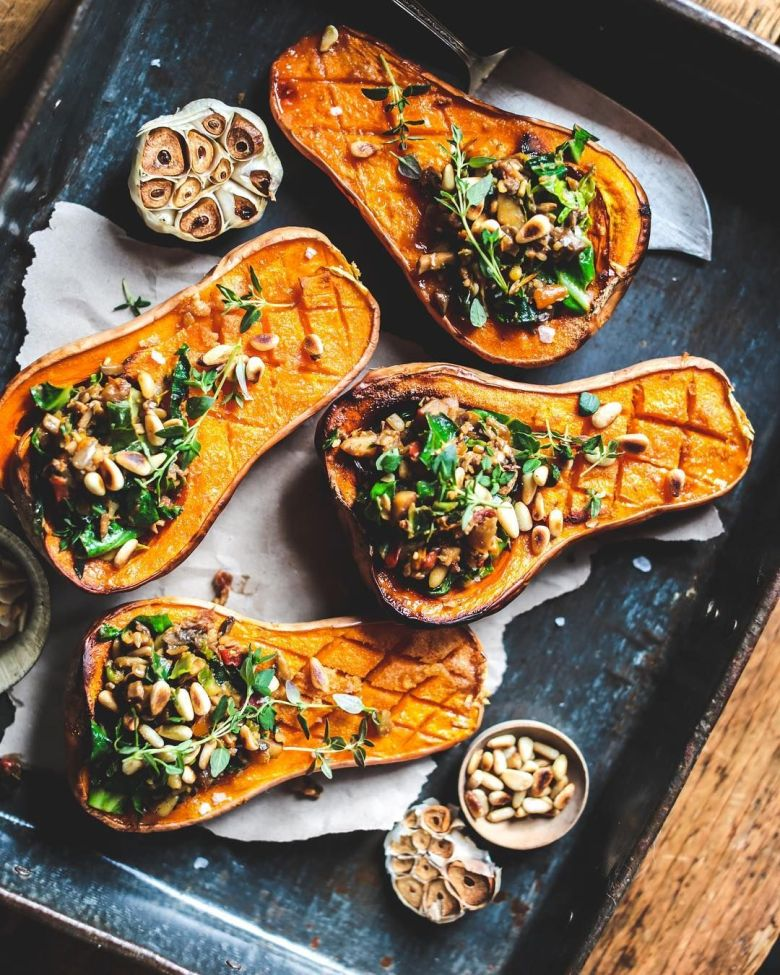 Baked mini Squashes with Mushroom filling