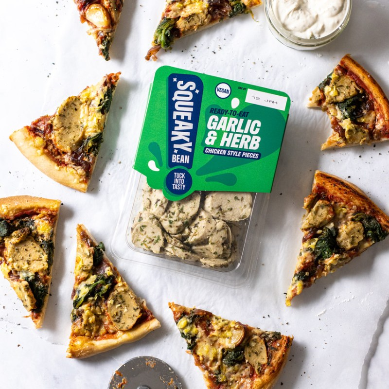 squeaky bean garlic and herb pizza