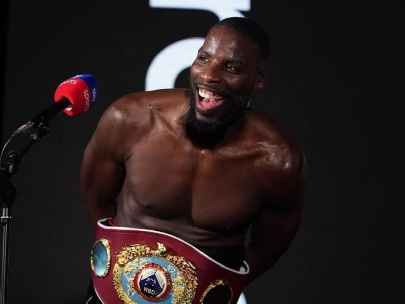 Boxer Lawrence Okolie after winning the cruiserweight world champion title