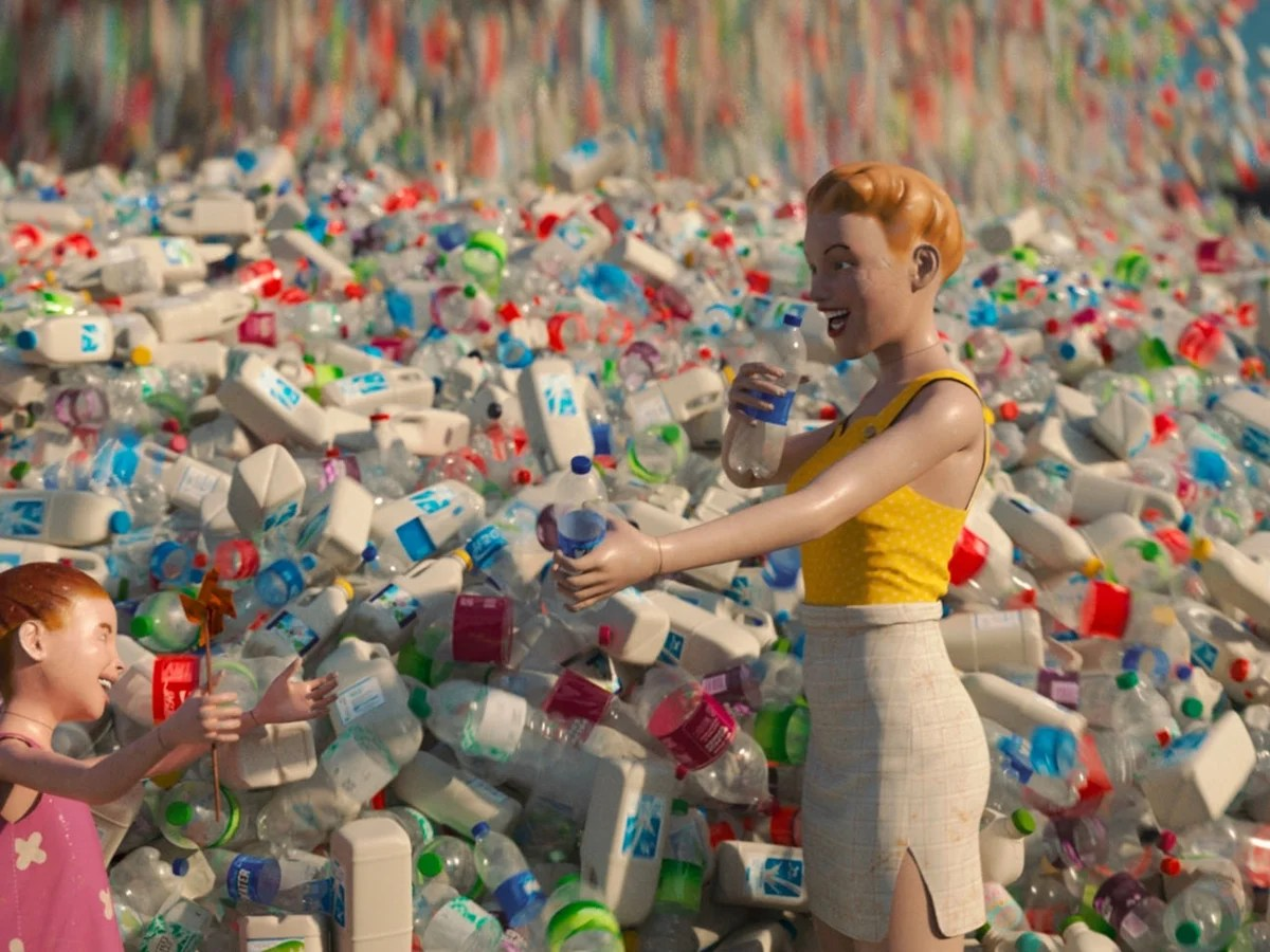 Plastic Dummies Surrounded By Plastic Bottles