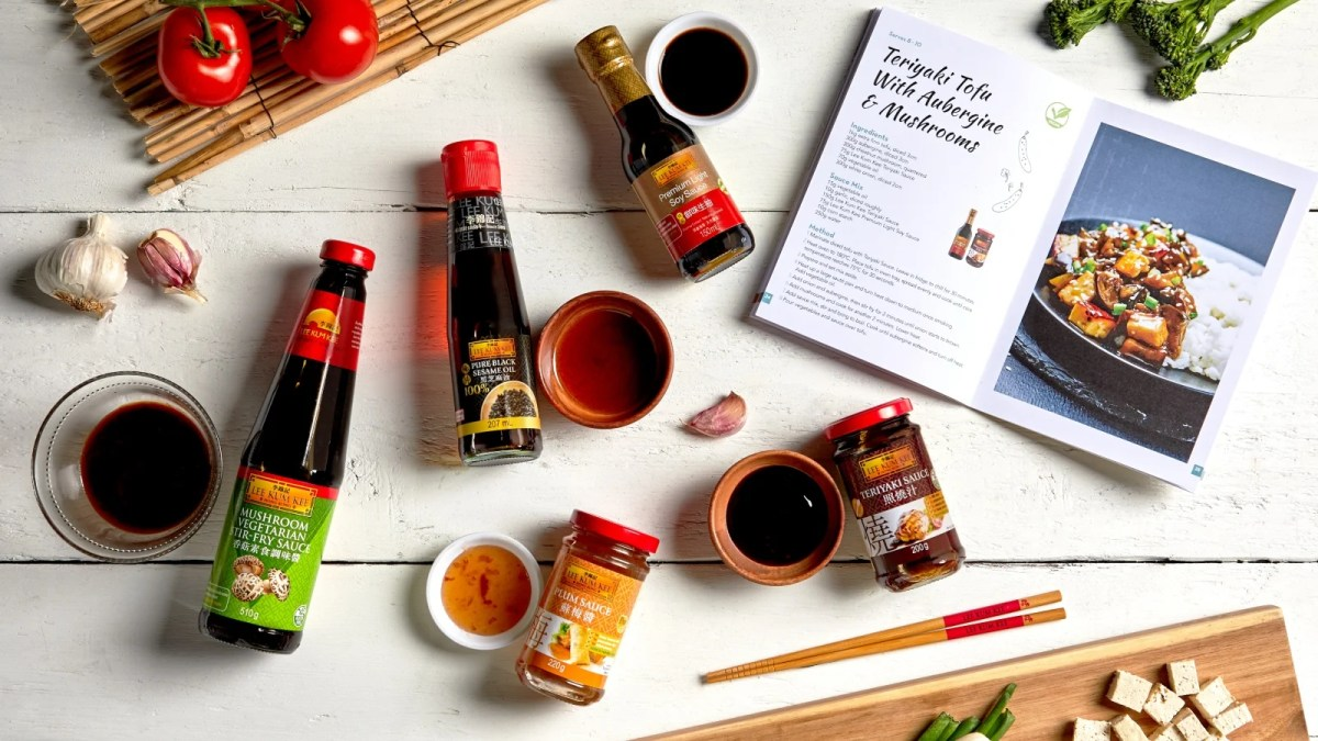 A range of Lee Kum Kee vegetarian products arranged on a work surface