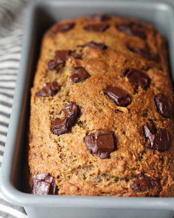 Chocolate Chip Zucchini Bread Vegan Oil Free Plant Based Rd