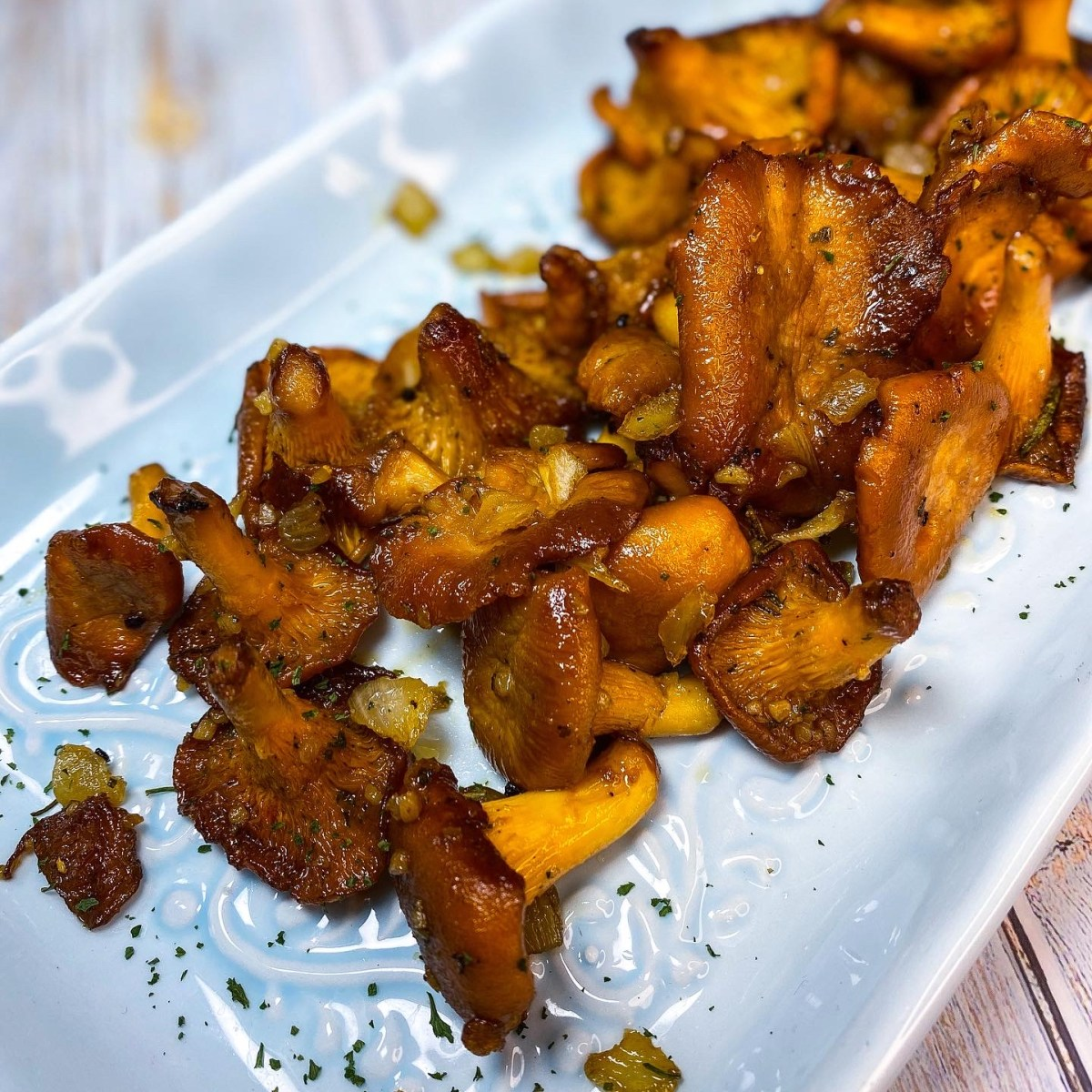 Candied maple chanterelle mushrooms