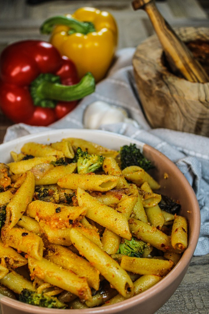 Roasted red pepper pesto on penne pasta