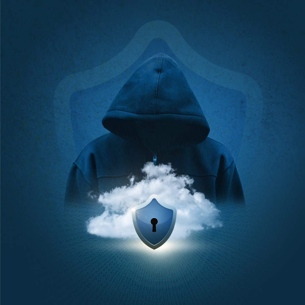 Silhouette of a hacker on the background of secure data cloud